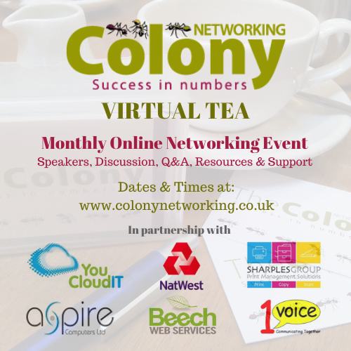 Colony Networking Virtual Tea – Cook at Colony