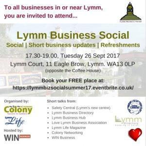 Lymm Biz Social event invite